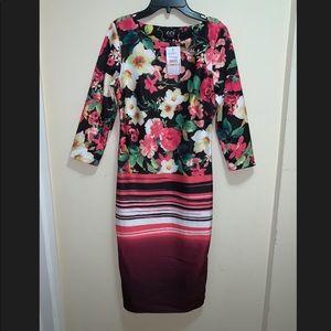 ECI New York 3/4 Sleeve Printed Floral Dress